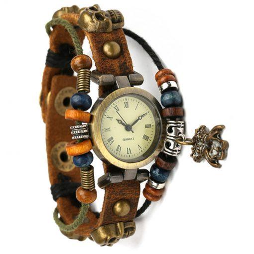 Bratara de piele fixa cu ceas. Lungime 21 cm