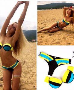 Costum de baie cu slip brazilian albastru cu galben cairo