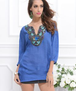 Bluza de plaja albastra semitransparenta