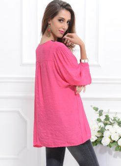 Bluza de plaja roz semitransparenta tip tunica