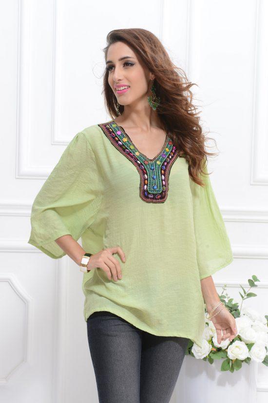 Bluza de plaja verde semitransparenta tip tunica