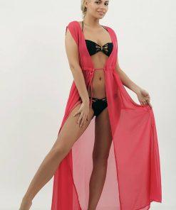 Cardigan de plaja Roz din voal fara maneci