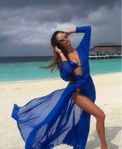 Cardigan de plaja albastru din voal cu maneci lungi