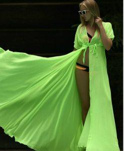 Cardigan de plaja verde neon din voal cu maneca scurta