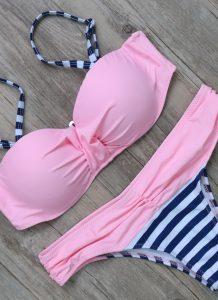 Costum de baie cu push-up si slip clasic Loca Roz-L