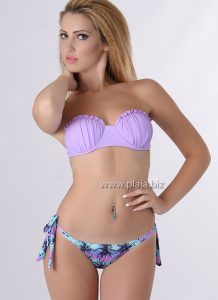 Costum de baie cu slip brazilian si push up Palmier Mov