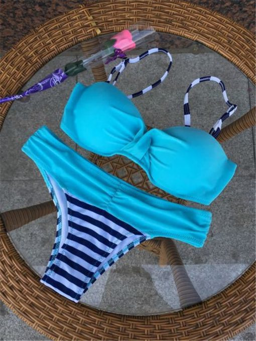 Costume de baie cu push-up si slip clasic Loca Albastru