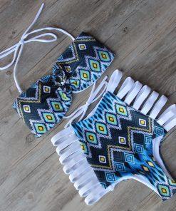 Costume de baie cu talie inalta retro Malibu AlbAlbastru