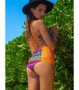 Costume de baie cu talie inalta retro Malibu PortocaliuAlbastru 1