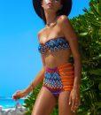 Costume de baie cu talie inalta retro Malibu PortocaliuAlbastru