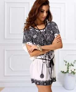Rochie de plaja alb cu negru