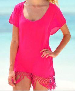 Rochita de plaja roz din chiffon