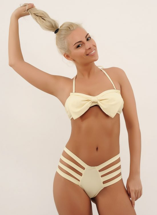 Costum de baie cu fundita la sutien si benzi la slip SunShine