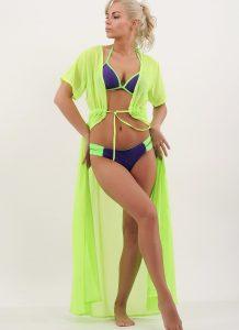 Costume de baie cu fundita la slip Filipine Mov si cardigan de plaja din voal