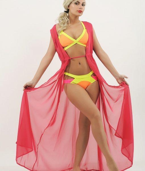 Costum de baie cu benzi elastice verde si portocaliu neon si cardigan din voal roz