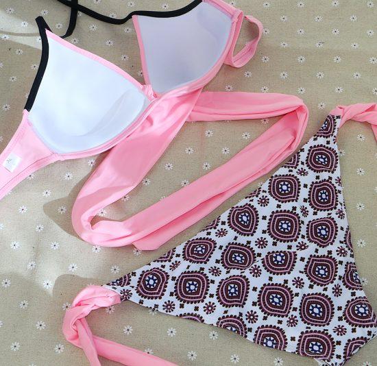 Costume de baie doua piese cu push up Corfu roz