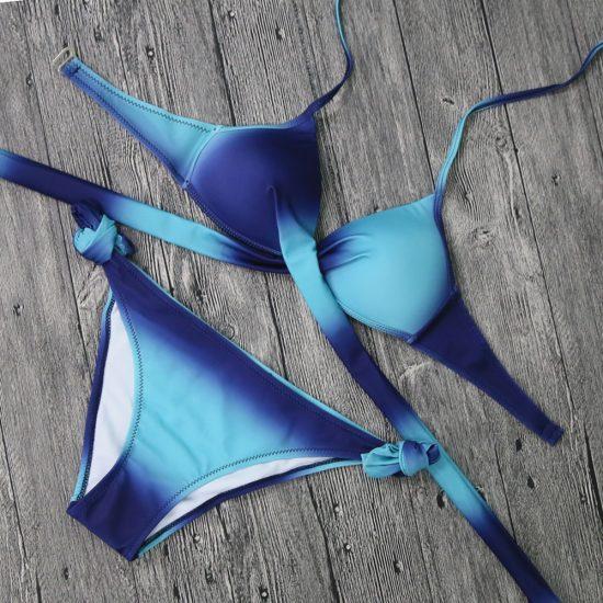 Costume de baie doua piese cu push-up Papaya Albastru