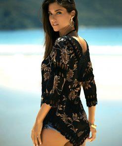 Rochita de plaja cu model crosetat Sofia Neagra
