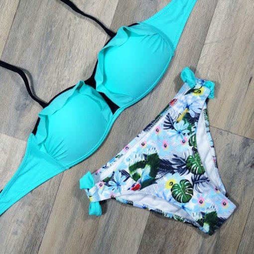 Costume de baie doua piese cu imprimeu Paris Albastru
