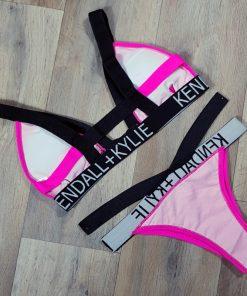 Costume de baie cu benzi elastice KENDALL+KYLIE Roz