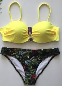 Costume baie 2019 doua piese Army Galben