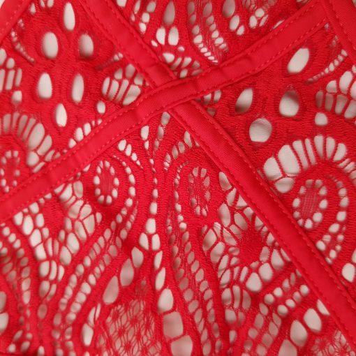 Costum de baie dantela doua piese Suedia Rosu Plaja.biz