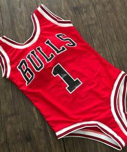 Costum de baie rosu intreg Bulls