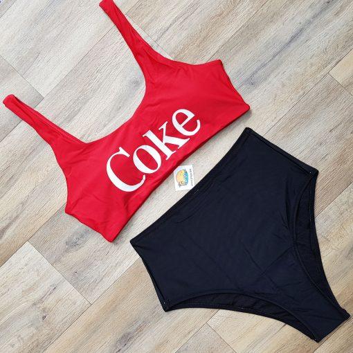 Costum de baie doua piese cu talie inalta si bustiera Coke