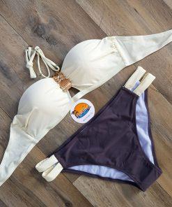Costume de baie doua piese cu push-up California Ivory Gri