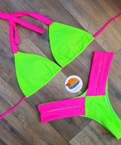 Costume de baie cu slip brazilian doua piese, neon, Adelina