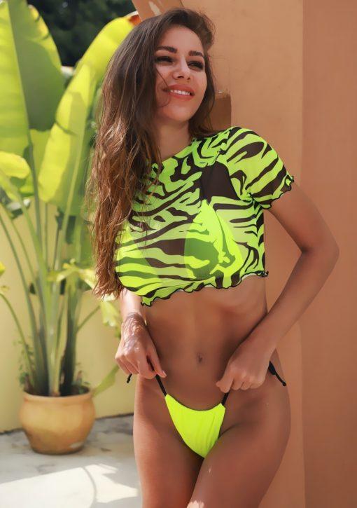 Costume de baie cu slip brazilian 3 piese Tijuana Verde