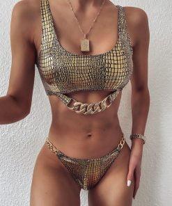 Costum de baie doua piese ReptileSkin Matrix Gold