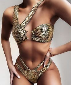 Costum de baie doua piese cu slip brazilian Indiana Gold